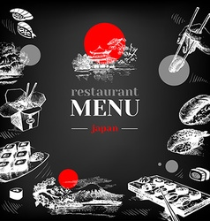 Restaurant chalkboard japanese food menu vector