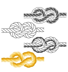 Rope knots in full-color textured and contour vector image