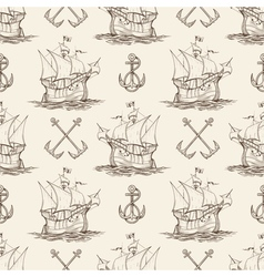 Sailship and Anchor Seamless pattern vector image vector image