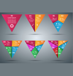 set triangle infographics origami style vector image