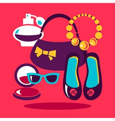 Shopping flat design set of fashion women icons vector