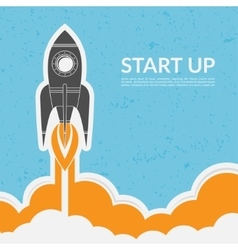 Space rocket launch in vintage style vector image vector image