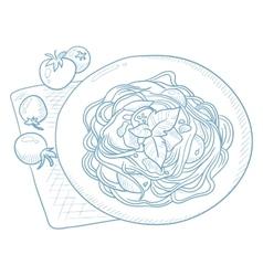 Spaghetti with basil on plate vector