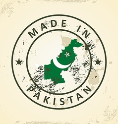 Stamp with map flag of pakistan vector