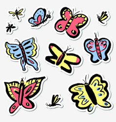 stickers set with cute butterflies collection vector image vector image