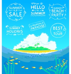 Summer calligraphic stamps vector image