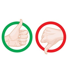 thumb up thumb down symbols vector image vector image