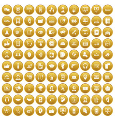100 call center icons set gold vector