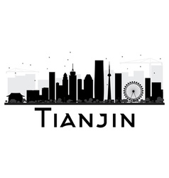 Tianjin city skyline black and white silhouette vector