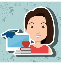 Woman student pc books vector