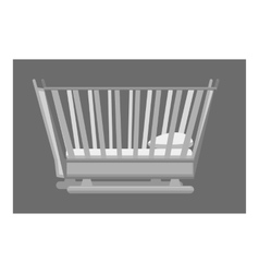 Bed for toddler icon gray monochrome style vector