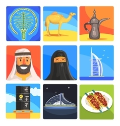 Famous touristic attractions to see in united arab vector