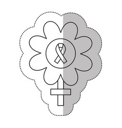 figure flower inside breast cancer emblem vector image