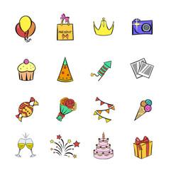 Party icons set cartoon vector