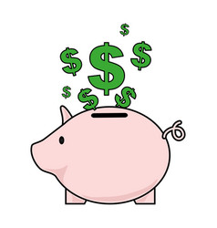 color silhouette with money box in shape of pig vector image