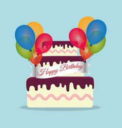 Beauty cake wrap ribbon lettering balloons vector