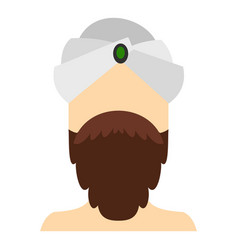 Man with beard and mustache wearing turban icon vector