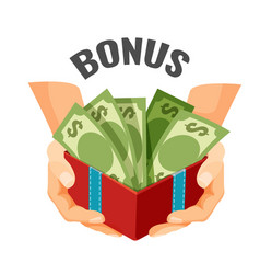 Giving money in open present box with dollar vector