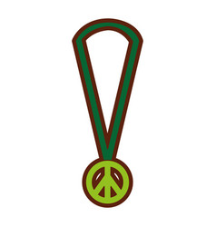 Necklace with peace symbol isolated icon vector