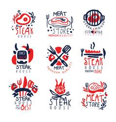Meat store steak house premium quality logo vector