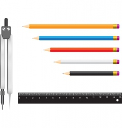 Compass pencil ruler vector