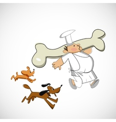 Chef carrying a bone for dogs sketch vector
