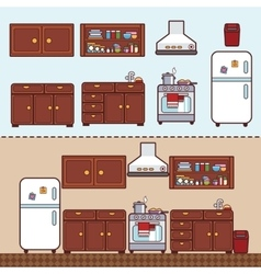 Kitchen with furniture in flat style vector