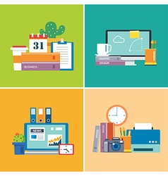 Set of flat design workspace vector
