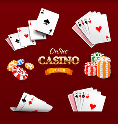 Casino design elements poker chips playing cards vector