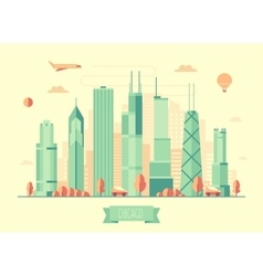 Chicago skyline flat design vector image