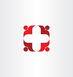 Red cross icon people health vector