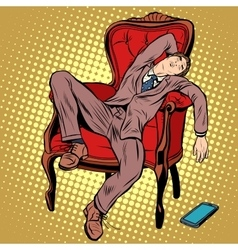 Businessman resting and sleeping in the chair vector