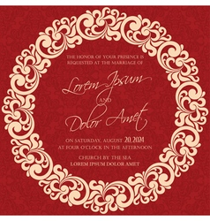 Invitation red with round element vector
