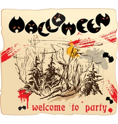 Invitation card or placard to halloween party vector