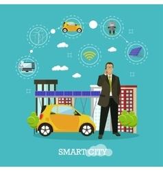 Smart city concept in flat vector