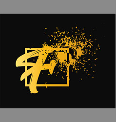 abstract letter f logo design gold beauty vector image