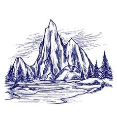 Ball pen river and mountain landscape vector
