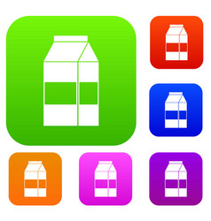 Box of milk set collection vector