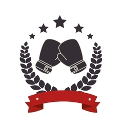 boxing gloves emblem icon vector image