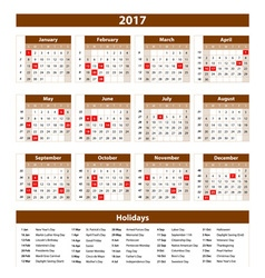 Calendar 2017 set 12 month on brown background vector image
