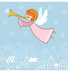 Christmas card with an angel vector