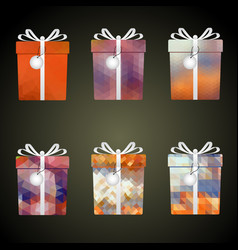 colorful mesh wrapping paper gifts with ribbons vector image vector image