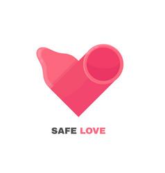 condom logo design heart vector image vector image