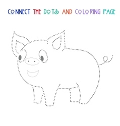 Connect the dots game pig vector image