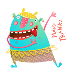 Dancing showing cheerful cute monster for children vector