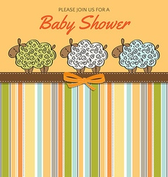 Delicate baby shower card with sheep vector image