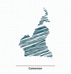 Doodle sketch of Cameroon map vector image vector image