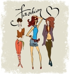 Drawing three fashionable girls vector