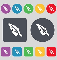 Feather icon sign a set of 12 colored buttons flat vector