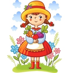 Girl with vegetables in the hands vector image vector image